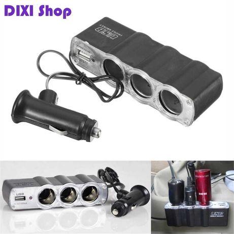 Автотройник USB 12/24V автомобильная зарядка зарядное в прикуриватель