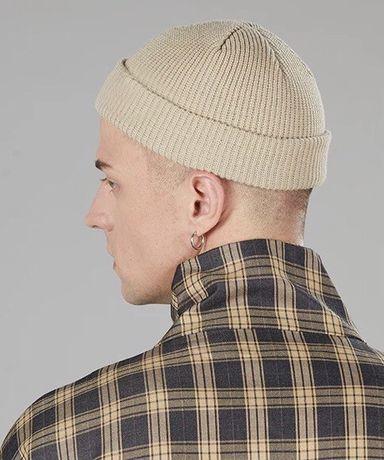 Шапка короткая шапка полушапка бини хаки бежевая мужская женская