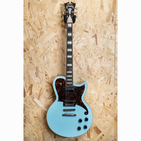D'Angelico Premier Atlantic Single Cutaway HH with Stoptail Sky Blue