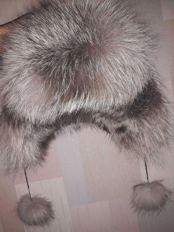 Шапка ушанка кожаная с чернобурки