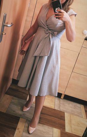 Sukienka srebrna brokatowa