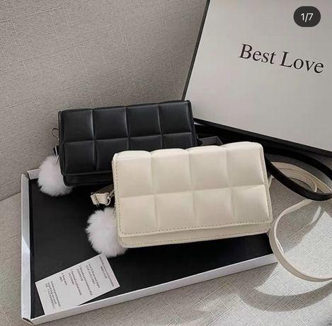 Чорна біла молочна коричнева сумка кросбоді шоколадка