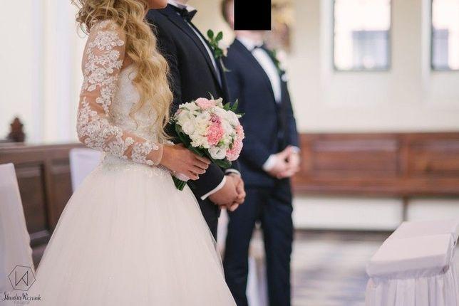 Suknia ślubna śmietankowa, rozm. 34/36