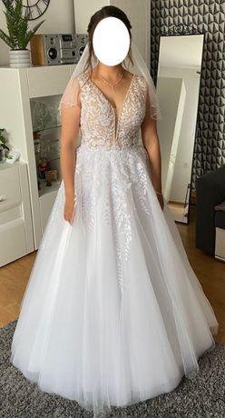 Suknia ślubna beż/biel typu księżniczka