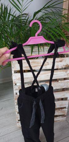 Czarne ogrodniczki szelki spodnie zara r. 92 falbanki