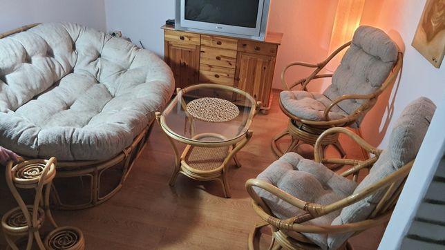 Komplet zestaw mebli ratanowy ratanowych rattan sofa fotele stolik
