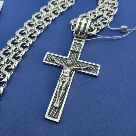 Набор серебряный крестик крест + цепочка бисмарк Серебро 925 пробы