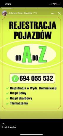 Rejestracja  Pojazdów  sprowadzonych i krajowych