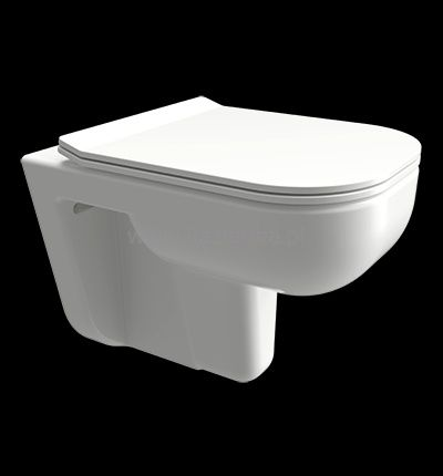 Miska WC wisząca, bezkołnierzowa + Deska Slim wolnop. Omnires Denver
