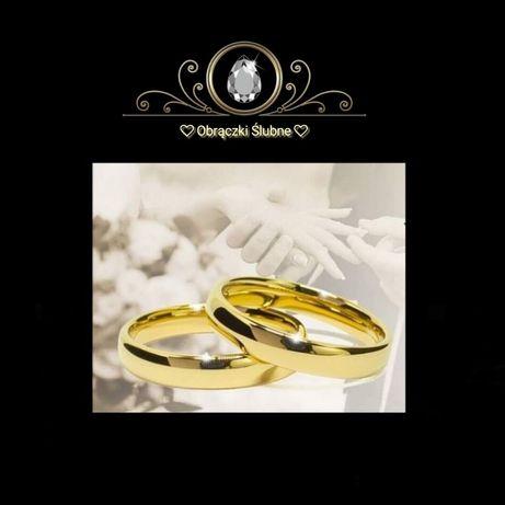 Subtelna Para Złotych Obrączek Ślubnych