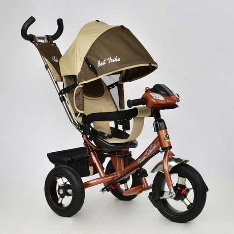 Велосипед трёхколёсный на надувных колёсах, Беж.-Шоколад, Музыка+Фара