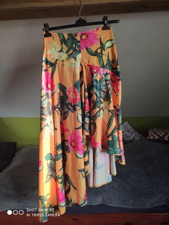 Spódnica Mohito 36 S żółta w kwiaty asymetryczna