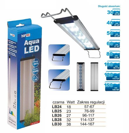 BELKA LED Oświetlenie Lampa 32W 114-137cm 8000K do akwarium 120x40