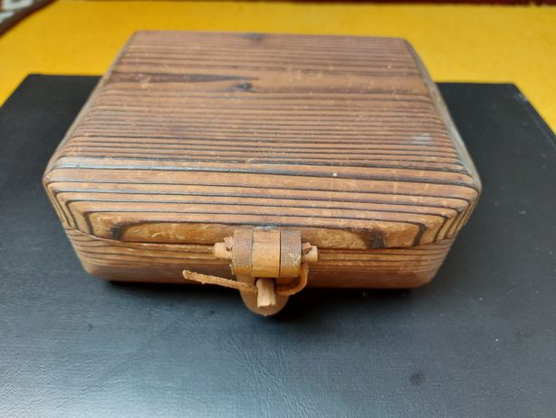 Drewniane pudełku Cepelia PRL
