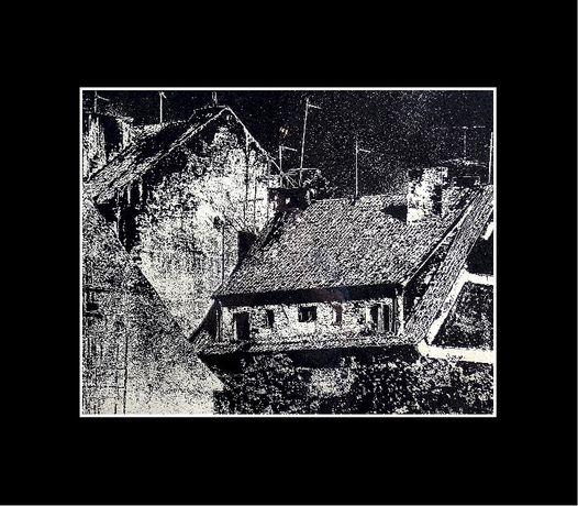 """Fotografia w technice gumy czarno-białej """"Plener Wigry '86 - Dachy..."""""""