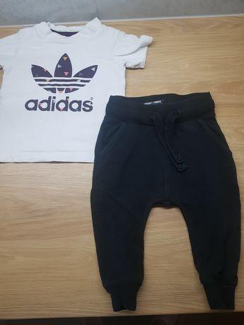 Zestaw spodnie next t-shirt adidas r. 74