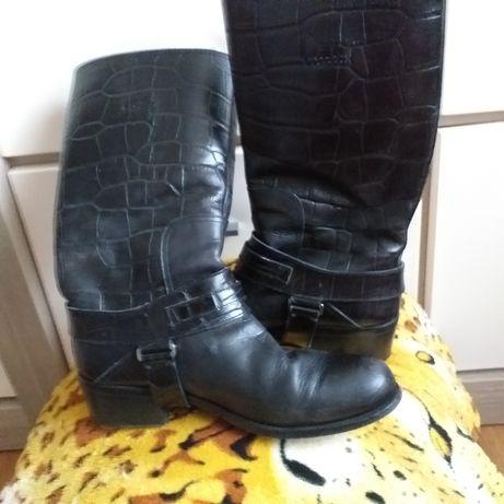 Christian Dior buty skórzane botki kowbojki bikery skóra naturalna