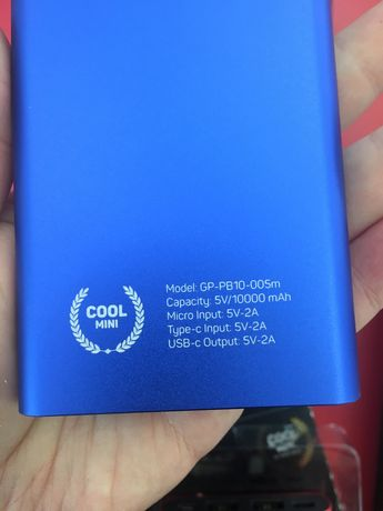 Павербанк Gelius Pro Cool mini 10000 мА синий/красный
