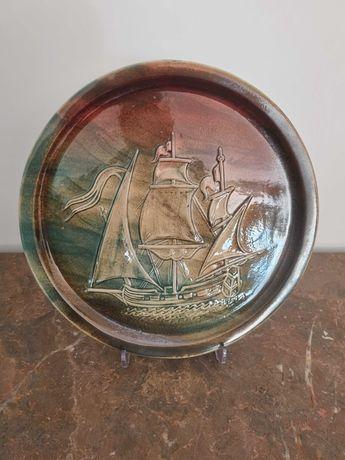 Prato em Porcelana Caranela Nautico Barco Decoração Casa Vintage