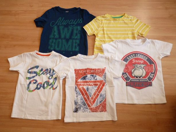 koszulki bluzki t-shirty 116 5 sztuk