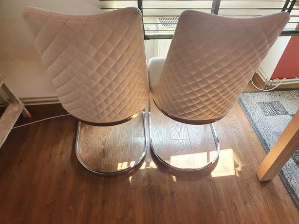 Krzesła stołowe - biały, kremowy - ecoskòra