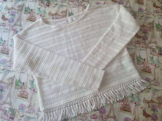 Красивая белая кофточка (кофта, свитер) на девочку 8-10 лет