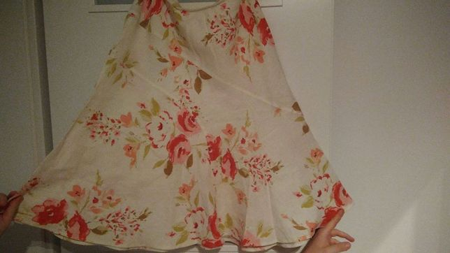 Spódnica len biała różowe róże R 14 CENA DO UZGODNIENIA