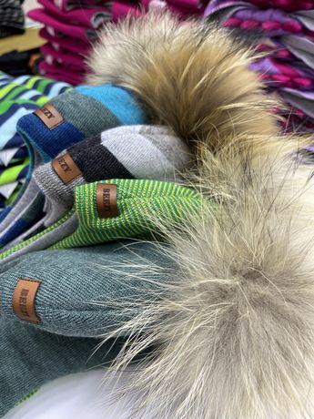 Детские шапки зима с помпоном Beezy. 100% шерсть. Есть все размеры