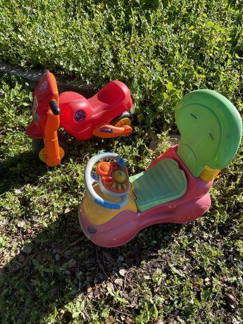 Carrinho e baliza chico , ferramentas de brincar e mota de plastico .