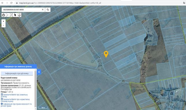 Земельна ділянка 1,25га під ОСГ біля с.Баламутівка, Ярмолинецький р-н