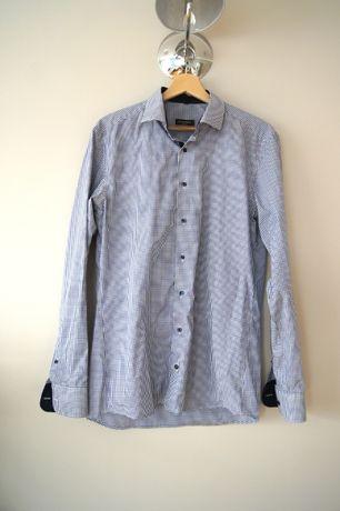 Eterna ciemnoszara kraciana koszula meska w krate slim fit 40 L kratke
