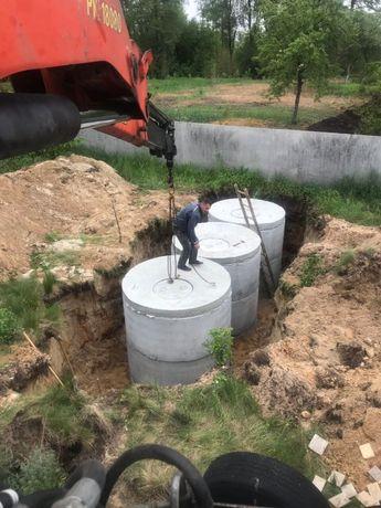 Выкопать канализацию под ключ. Бетонные кольца для септик