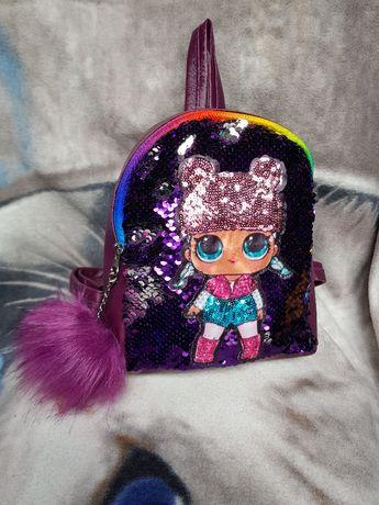 рюкзак лол детский паетки перевертыши светятся глазки