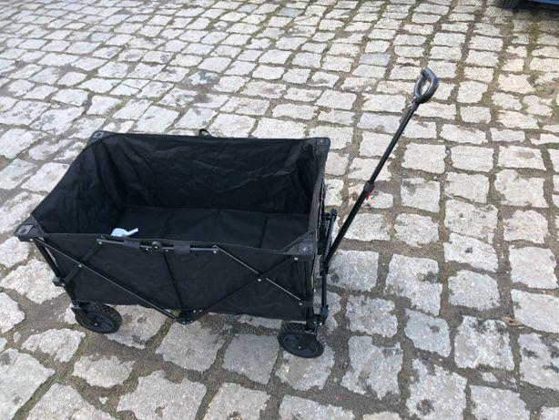 Składany wózek ogrodowy ręczny, stalowy, plaża -czarny