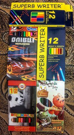 Цветные карандаши разные краски пластилин
