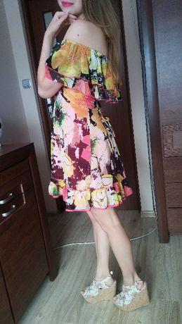 Sukienka Next floral kwiaty kolorowa hiszpanka letnia zwiewna rozm. S