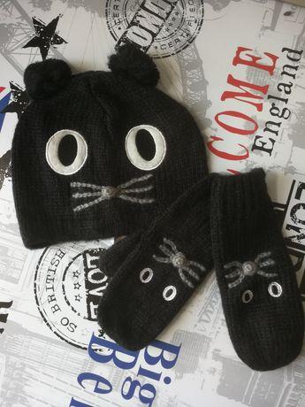 Czapka kot + rękawiczki z palcem One Size