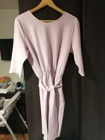 Sukienka jasnofioletowa z długim rękawem 42/XL chrzciny komunia wesele