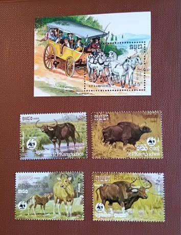 Марки 80-х R.P. Kampuchea – кони и буйволы