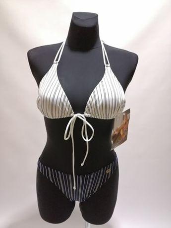 NOWY Kostium kąpielowy Bikini SELF S-117VF Biało-Granatowe Paski S M