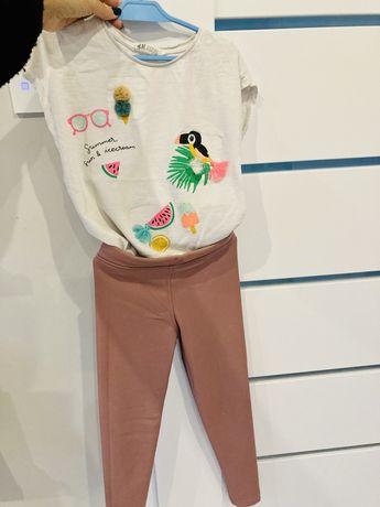 Nowe spodnie woskowane 128 cm w srodku z ociepleniem lekkim i koszulka