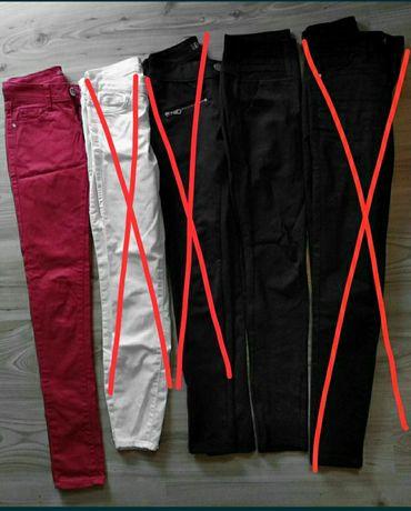 Spodnie XS czarne eleganckie, czerwone rurki, czarne klasyczne