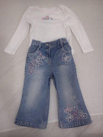 Komplet spodnie i body długi rękaw 12-18 miesięcy