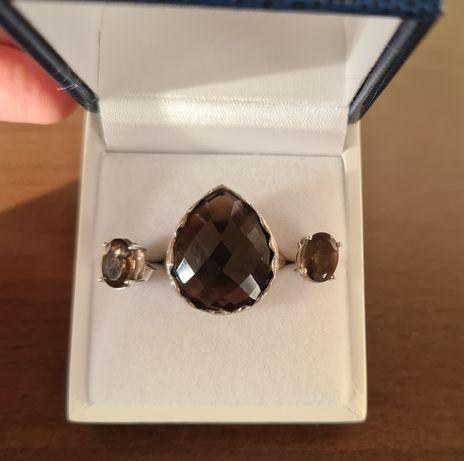 Серебряное кольцо и серьги с дымчатым кварцем