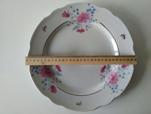 сервировочное блюдо большая тарелка с позолотой и рисунком 30 см СССР