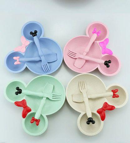 Набор детская посуда Микки Минни маус : тарелка ложка вилка