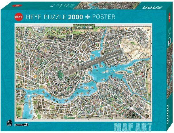 Puzzle Heye 2000 Peças 29844 Map Art City Of Pop - NOVO