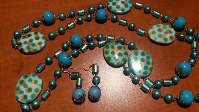 Komplet biżuterii, naszyjnik z kolczykami