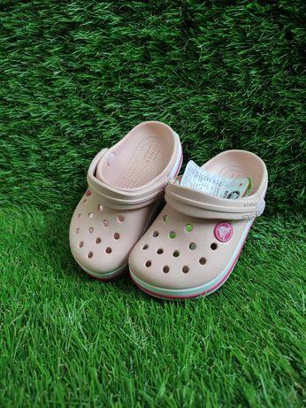 Распродажа  Детские кроксы розовые пудровые Kids crocband pearl акция