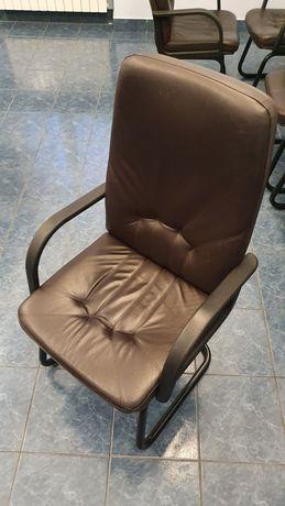 Fotele skórzane brązowe komplet 10 sztuk